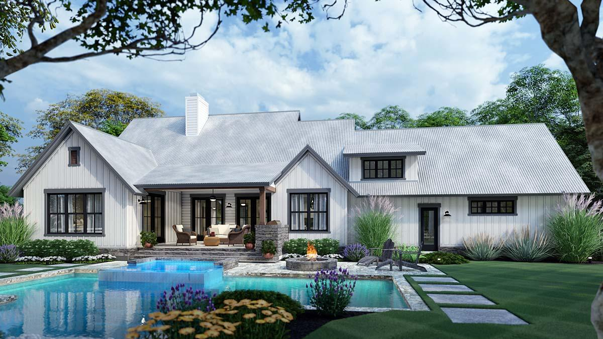 Cottage, Farmhouse, Southern, Traditional House Plan 75166 with 3 Beds, 3 Baths, 2 Car Garage Rear Elevation