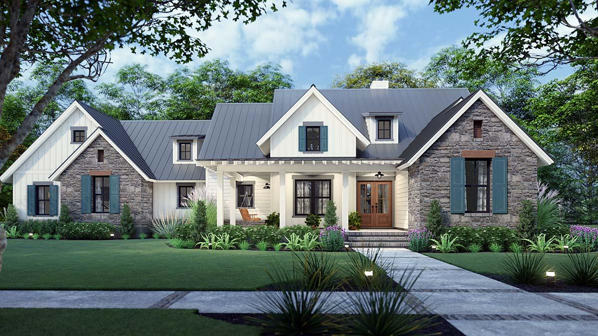 Cottage, Farmhouse, Ranch, Southern House Plan 75167 with 3 Beds, 3 Baths, 2 Car Garage Elevation