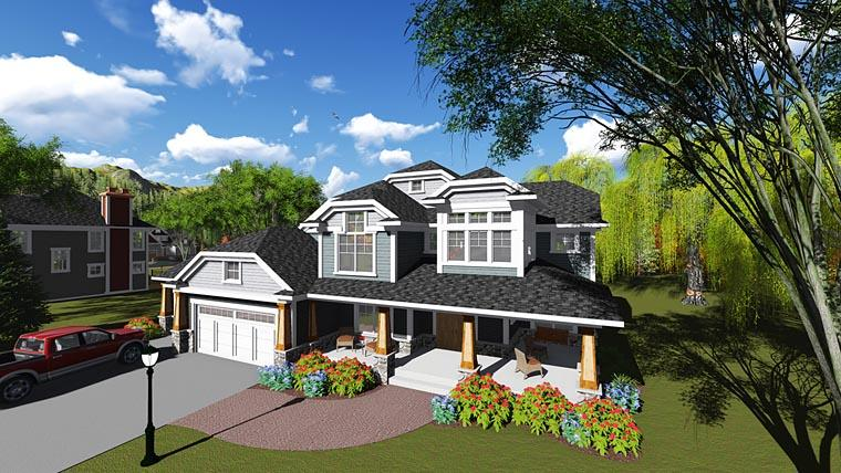 Bungalow, Contemporary, Craftsman House Plan 75249 with 6 Beds, 5 Baths, 3 Car Garage Elevation