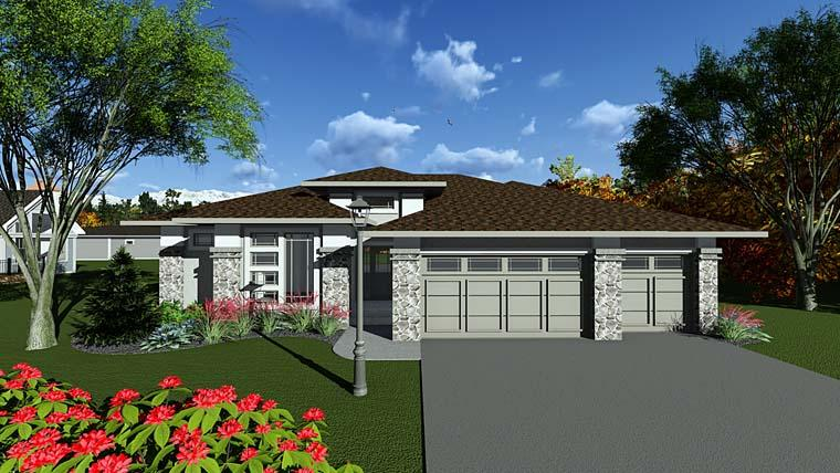 Contemporary, Prairie, Southwest House Plan 75291 with 2 Beds, 2 Baths, 3 Car Garage Elevation