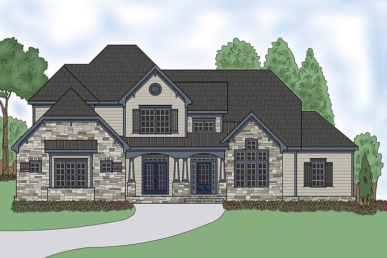 Craftsman, Traditional House Plan 75306 with 4 Beds, 6 Baths, 3 Car Garage Elevation