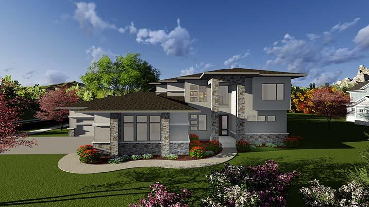 Contemporary, Prairie, Southwest House Plan 75405 with 3 Beds, 4 Baths, 8 Car Garage Elevation
