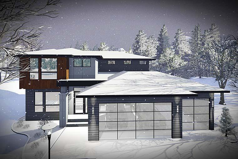 Contemporary, Modern House Plan 75437 with 3 Beds, 3 Baths, 3 Car Garage Elevation
