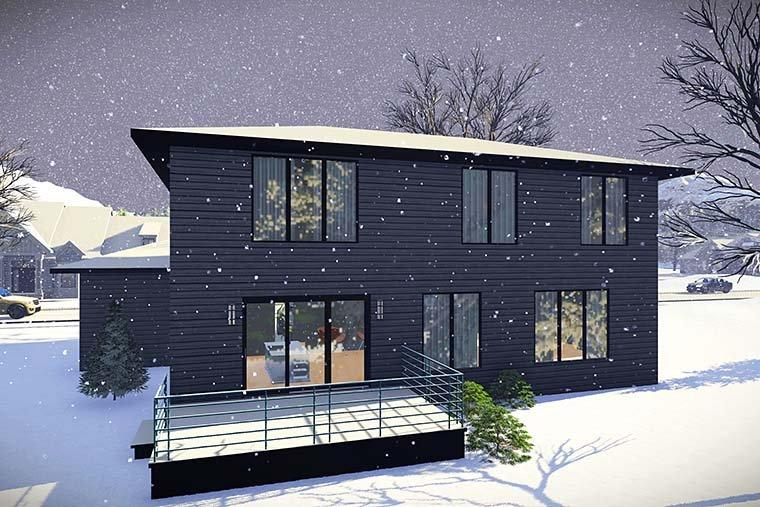 Contemporary, Modern House Plan 75437 with 3 Beds, 3 Baths, 3 Car Garage Rear Elevation