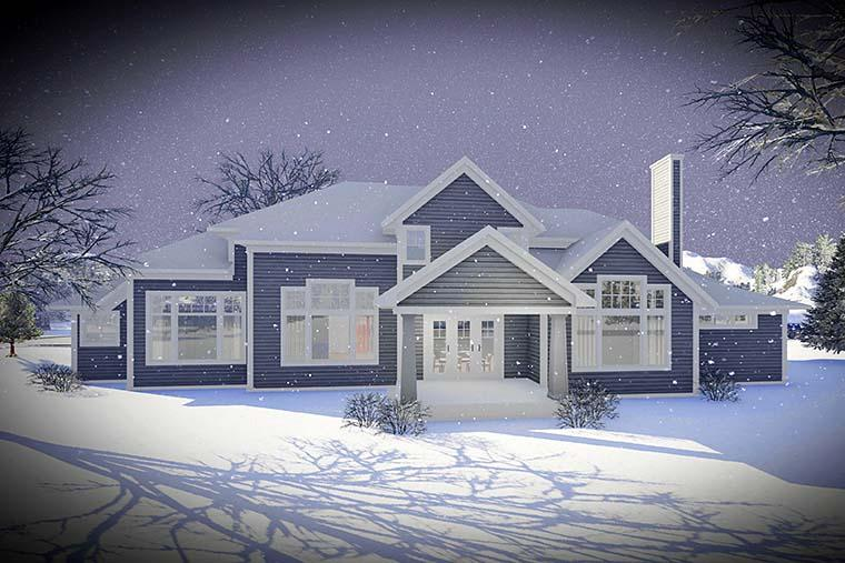 Craftsman, Traditional House Plan 75442 with 5 Beds, 5 Baths, 3 Car Garage Rear Elevation