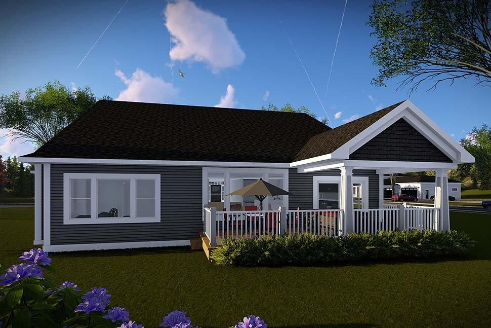 Craftsman, Traditional House Plan 75458 with 3 Beds, 2 Baths, 3 Car Garage Rear Elevation