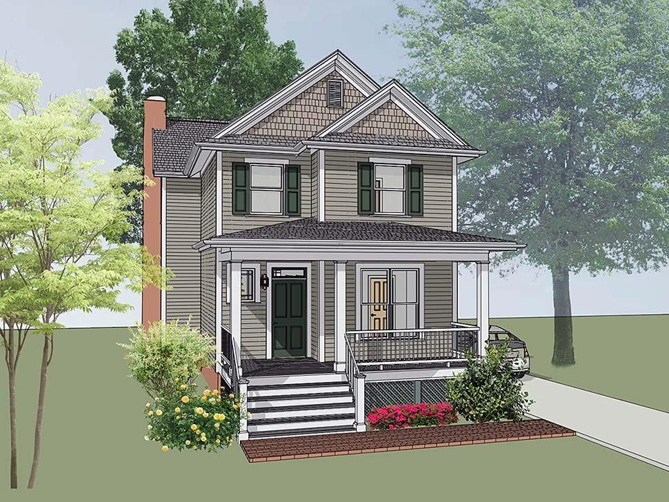 Colonial, Southern House Plan 75502 with 4 Beds, 3 Baths Elevation