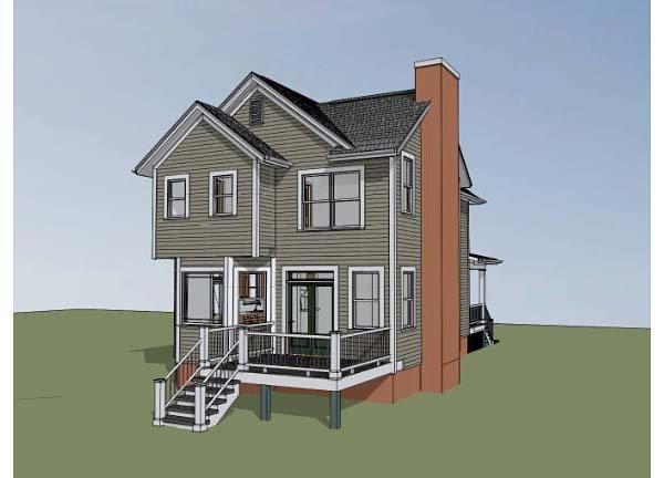 Colonial, Southern House Plan 75502 with 4 Beds, 3 Baths Rear Elevation