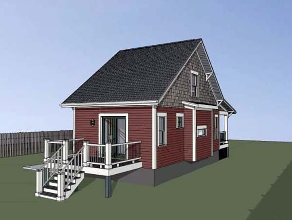 Cottage, Country House Plan 75510 with 1 Beds, 1 Baths Rear Elevation