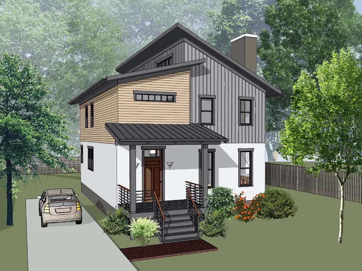 Contemporary, Modern House Plan 75598 with 3 Beds, 3 Baths Elevation