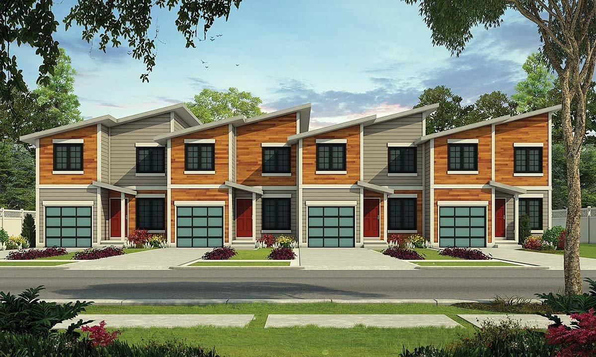 Modern Multi-Family Plan 75731 with 3 Beds, 3 Baths, 1 Car Garage Elevation