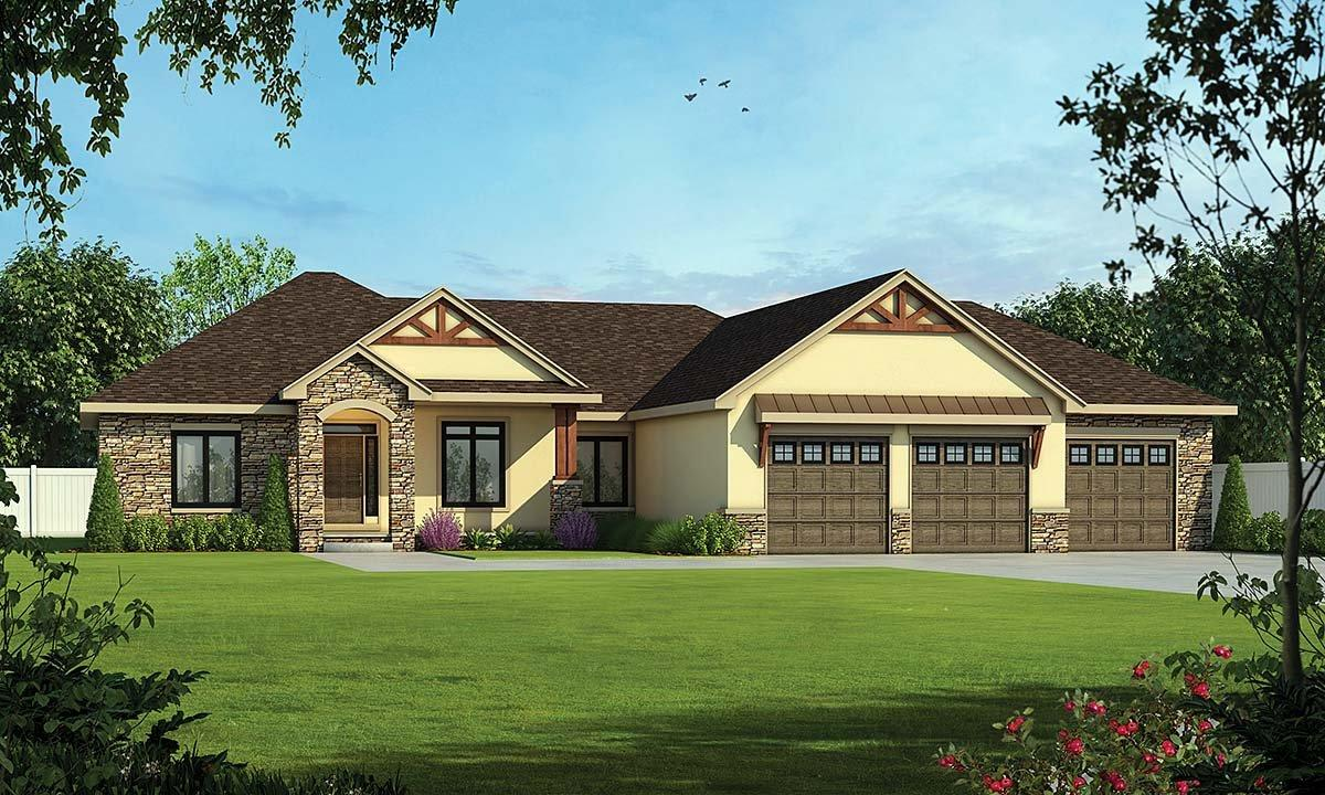 Craftsman, Traditional House Plan 75753 with 4 Beds, 4 Baths, 3 Car Garage Elevation