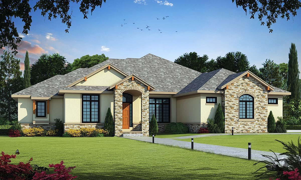 Traditional House Plan 75755 with 2 Beds, 4 Baths, 3 Car Garage Elevation