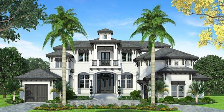 Florida, Mediterranean House Plan 75954 with 4 Beds, 6 Baths, 3 Car Garage Elevation