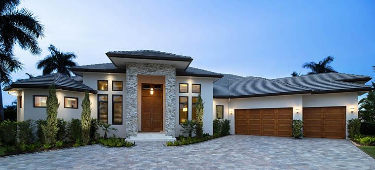 Contemporary, Modern, Southwest House Plan 75982 with 3 Beds, 4 Baths, 3 Car Garage Elevation