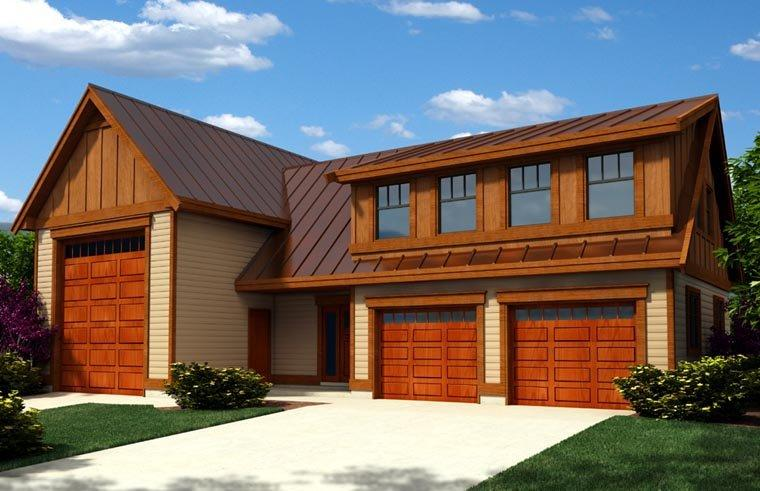 Contemporary, Craftsman 3 Car Garage Apartment Plan 76023, RV Storage Elevation
