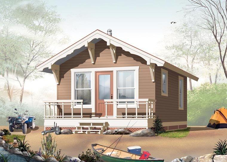 Cabin House Plan 76164 with 1 Beds, 1 Baths Elevation