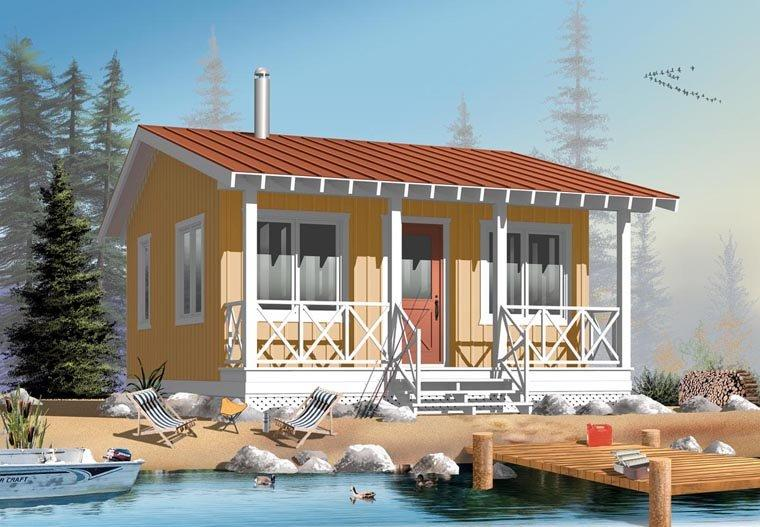 Cabin House Plan 76165 with 1 Beds, 1 Baths Elevation