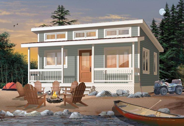 Cabin House Plan 76166 with 2 Beds, 1 Baths Elevation