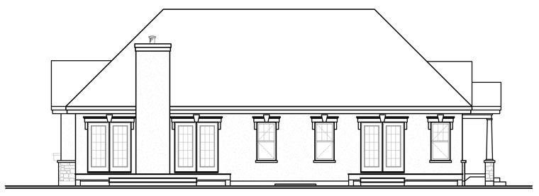 European House Plan 76174 with 3 Beds, 2 Baths Rear Elevation