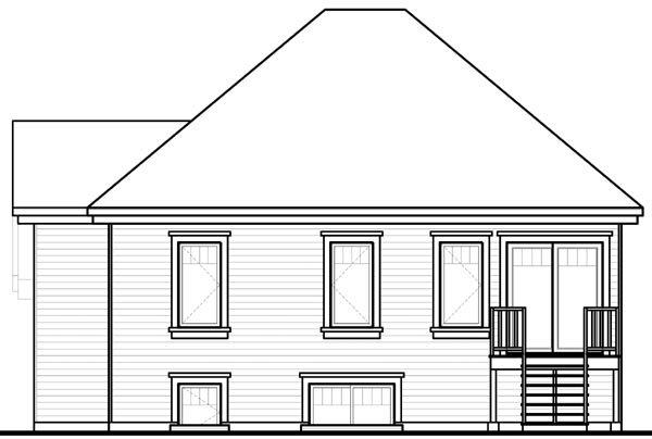 House Plan 76204 with 4 Beds, 2 Baths Rear Elevation