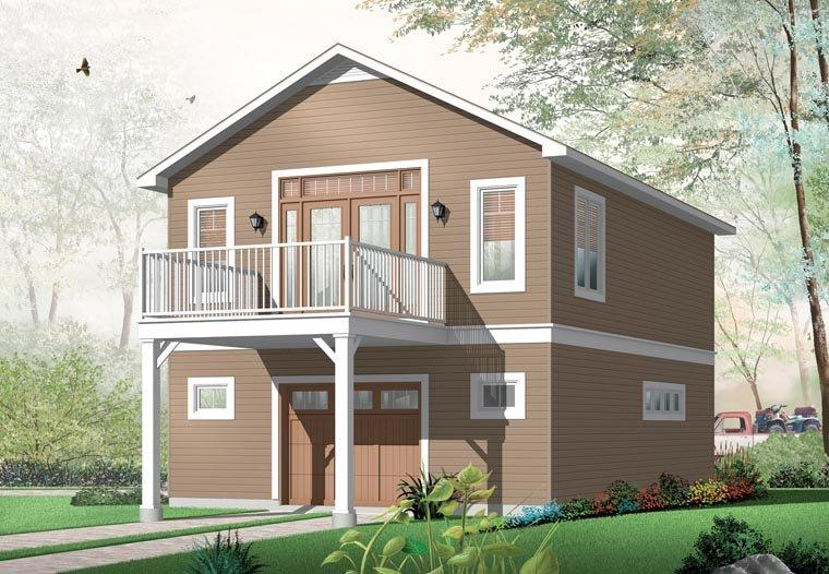 2 Car Garage Apartment Plan 76227 with 1 Beds, 1 Baths Rear Elevation