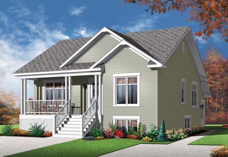 Country Multi-Family Plan 76283 with 4 Beds, 2 Baths Elevation