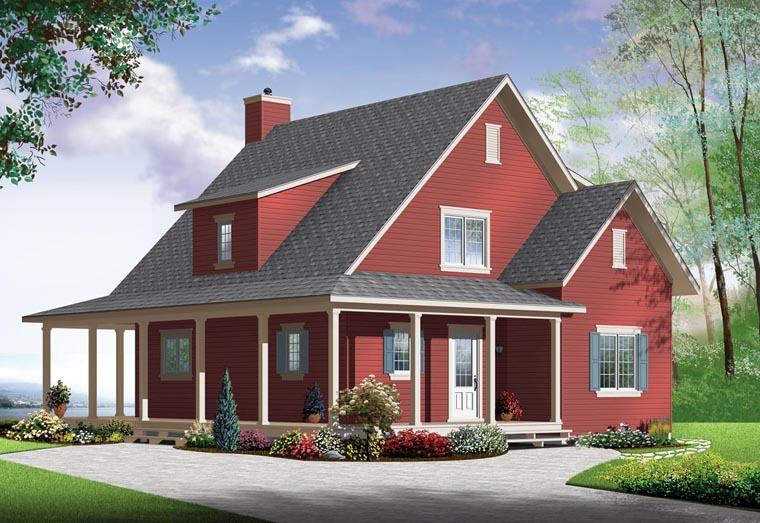 Country House Plan 76364 with 4 Beds, 2 Baths Elevation