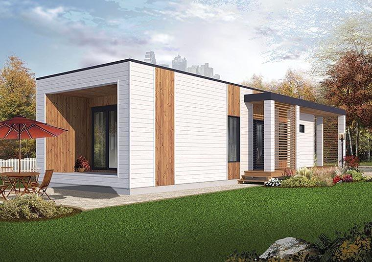 Contemporary, Modern House Plan 76460 with 2 Beds, 1 Baths Elevation