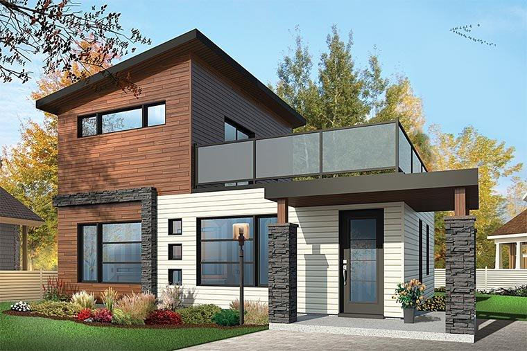 Contemporary, Modern House Plan 76461 with 2 Beds, 2 Baths Elevation