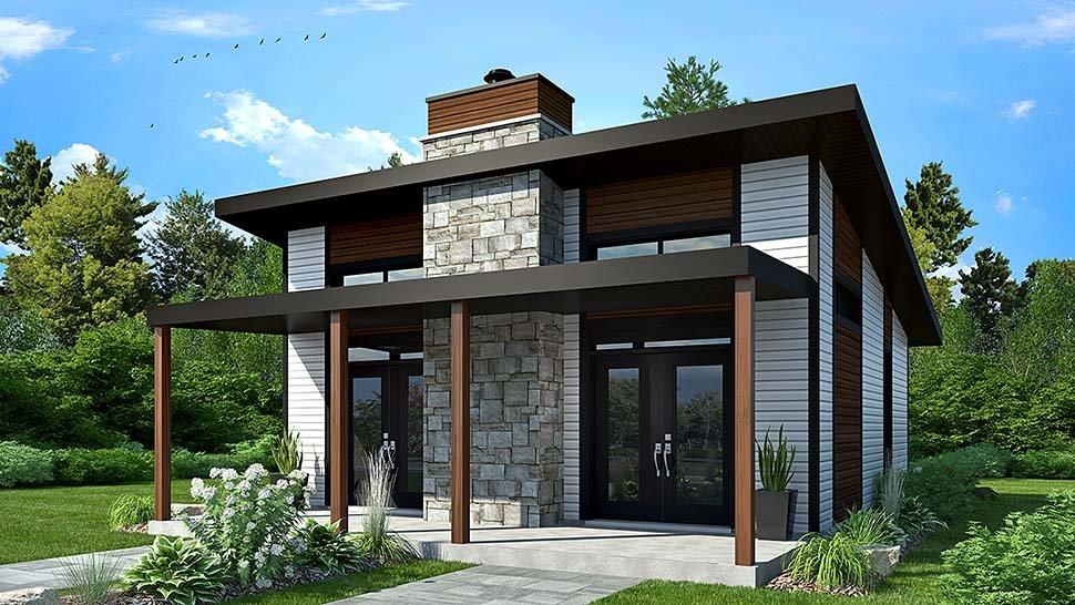 Contemporary, Modern House Plan 76474 with 2 Beds, 1 Baths Elevation