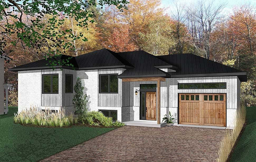 Contemporary, Modern, Ranch House Plan 76493 with 2 Beds, 1 Baths, 1 Car Garage Elevation