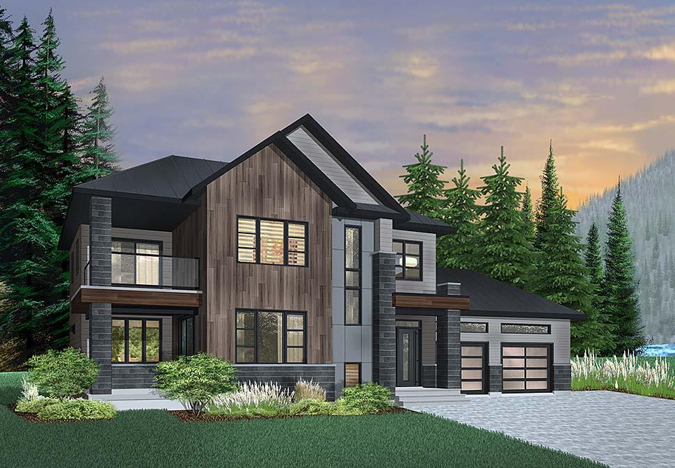 Contemporary, Modern House Plan 76498 with 3 Beds, 3 Baths, 2 Car Garage Elevation