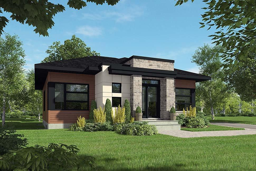 Contemporary, Modern House Plan 76514 with 2 Beds, 1 Baths Elevation