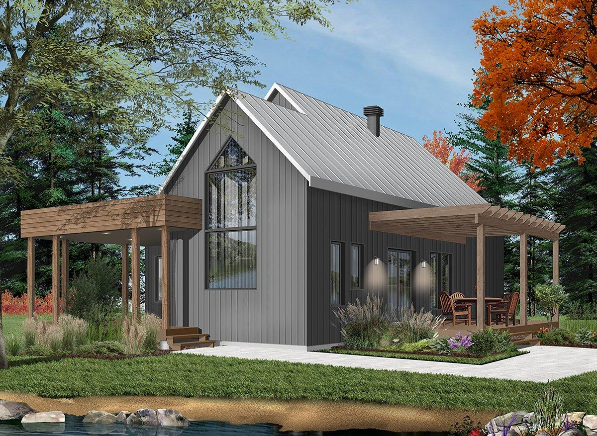 Contemporary, Cottage, Modern House Plan 76527 with 2 Beds, 1 Baths Rear Elevation
