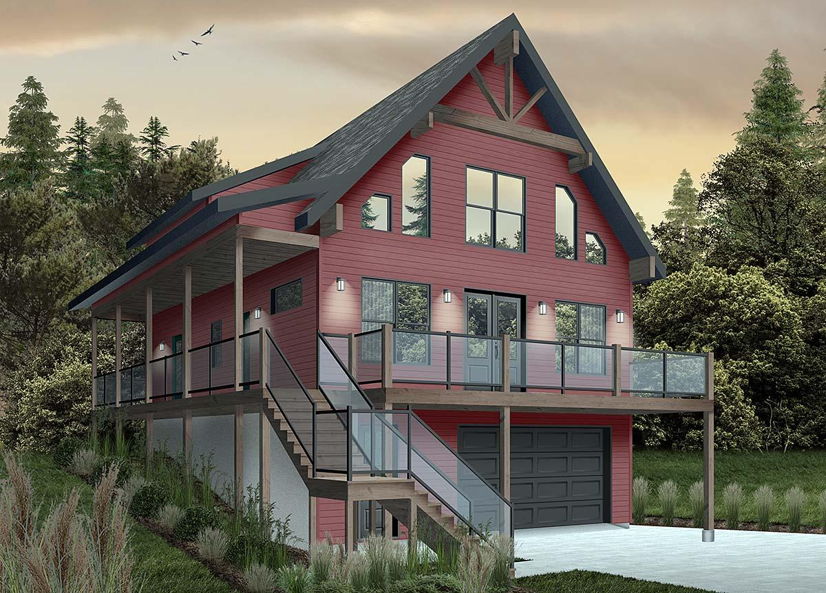 A-Frame, Cabin, Coastal, Cottage, Country House Plan 76550 with 4 Beds, 3 Baths, 1 Car Garage Elevation