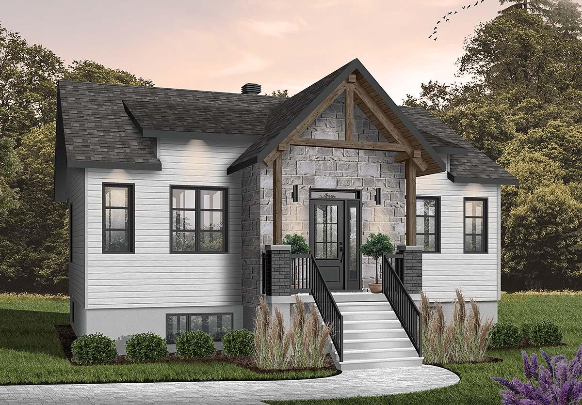 Cabin, Craftsman, Ranch House Plan 76558 with 2 Beds, 1 Baths Elevation