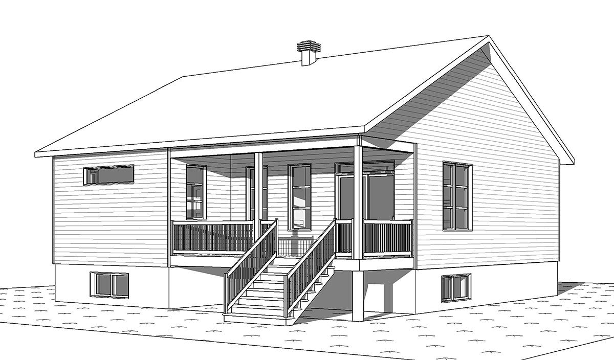 Cabin, Craftsman, Ranch House Plan 76558 with 2 Beds, 1 Baths Rear Elevation