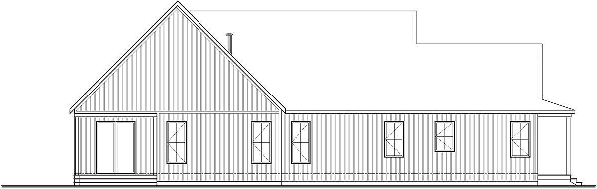 Cabin, Cottage, Country, Farmhouse, Ranch House Plan 76572 with 2 Beds, 3 Baths, 1 Car Garage Rear Elevation