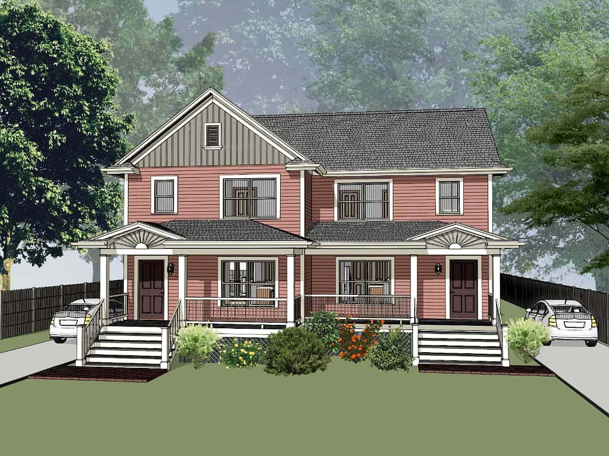 Colonial, Country Multi-Family Plan 76610 with 3 Beds, 2 Baths Elevation