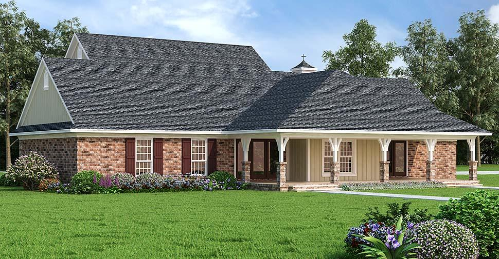 Country House Plan 76933 with 3 Beds, 3 Baths, 2 Car Garage Rear Elevation