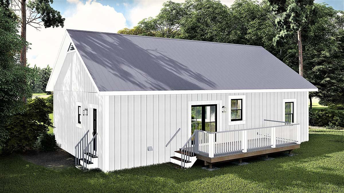 Cottage, Country House Plan 77400 with 3 Beds, 2 Baths Rear Elevation