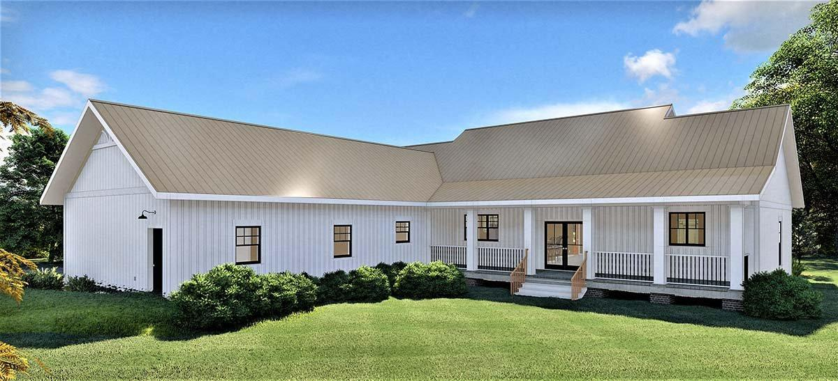 Country, Southern House Plan 77408 with 4 Beds, 3 Baths, 2 Car Garage Rear Elevation