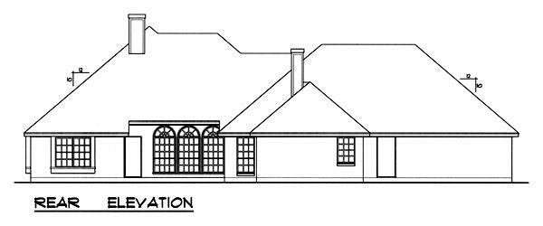 Traditional House Plan 77763 with 4 Beds, 3 Baths, 3 Car Garage Rear Elevation