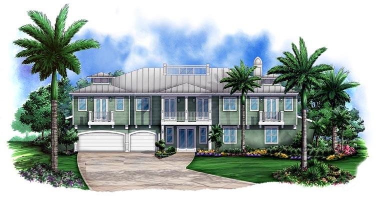 Florida House Plan 78103 with 3 Beds, 3 Baths, 3 Car Garage Elevation