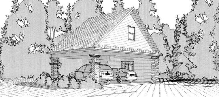 2 Car Garage Plan 78665 Elevation