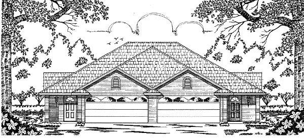 European, One-Story Multi-Family Plan 79051 with 5 Beds, 4 Baths, 4 Car Garage Elevation