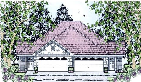 Country Multi-Family Plan 79240 with 6 Beds, 4 Baths, 4 Car Garage Elevation