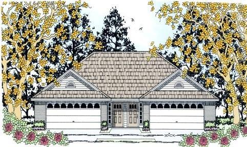 Country Multi-Family Plan 79256 with 4 Beds, 4 Baths, 4 Car Garage Elevation