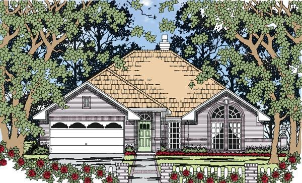 European, One-Story, Traditional House Plan 79260 with 3 Beds, 2 Baths, 2 Car Garage Elevation